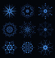 blue sparkling snowflake vector image vector image