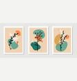 botanical wall art set plant elements line