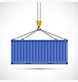 cargo container hanging on a crane hook vector image