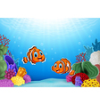Cartoon Clown Fish with beautiful underwater world vector image vector image