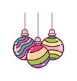 colored striped balls decoration merry christmas vector image