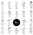 comic children characters black and white set vector image vector image