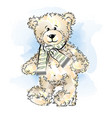 drawing teddy bear with scarf color vector image vector image