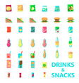 drinks and snacks flat isolated vector image