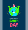 earth day poster of planet with birthday hat vector image vector image