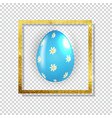 easter egg with paint splash and golden frame vector image vector image
