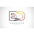 eo creative modern logo design with orange and vector image
