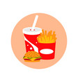 fast food lunch meal set vector image vector image