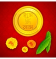 Gold Coin with Shubh Laav vector image vector image