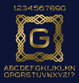 golden letters and numbers initial monogram frame vector image vector image