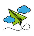 green paper plane with blue clouds black outline vector image vector image