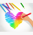 hand drawing rainbow heart vector image