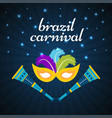 happy brazilian carnival day yellow carnival mask vector image vector image
