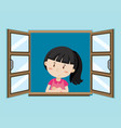 happy girl by the window vector image vector image