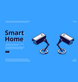 landing page smart home with camera icon vector image