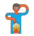moviegoer at cinema with popcorn stereo glasses vector image