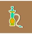 Paper sticker on stylish background of smoke