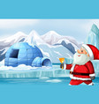 scene with santa in north pole vector image vector image