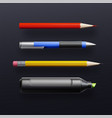 school supplies isolated on black background vector image