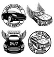 set emblems with cars repair service car vector image vector image