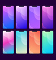 set multiple phone screen backgrounds and vector image vector image