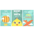 set of summer postcard with cute fish plane and vector image vector image