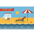 Summer Beach Camping Postcard With Lounging Guy vector image vector image
