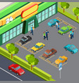 supermarket with car parking vector image vector image