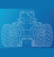 tractor front view wire-frame tracing vector image