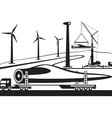 truck carrying wind turbine blade vector image vector image