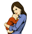 young woman holding baby vector image vector image