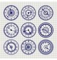Ornamental watches ball pen sketch set vector image