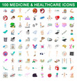 100 medicine and healthcare icons set vector image