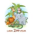 Zoo cartoon animals logo vector image