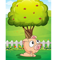 A pig under the tree vector image vector image