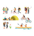 active people hikers cartoon travelling family vector image