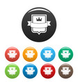 badge emperor icons set color vector image vector image