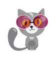 cartoon character in flat art style cat sit in vector image vector image