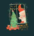 cartoon santa claus look through window vector image