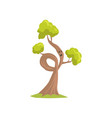 cartoon tree with sad face expression humanized vector image vector image