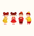 chinese kids greeting or pay respect characters vector image