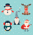 christmas cute characters and animals set vector image vector image
