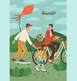 cute happy family riding bike skateboard and vector image vector image