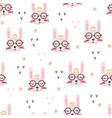 cute rabbits seamless pattern vector image vector image