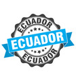 ecuador round ribbon seal vector image vector image