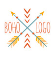 ethnic logo boho style element hipster fashion vector image vector image