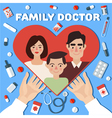 Family Doctor Concept Banner Hands with Heart vector image vector image