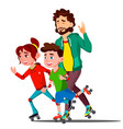 father and children skating on roller skates vector image vector image
