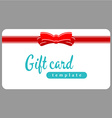 Gift card template Red ribbon with bow on a white vector image vector image