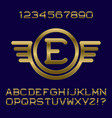 golden letters numbers monogram in winged frame vector image